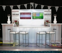 Diamond Plate Back Bar Wall w/ Alpine White Back Bar Display Units