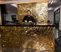 "Gold Petals Mirrored DJ Booth | 8'W x 30""D x 42""H"