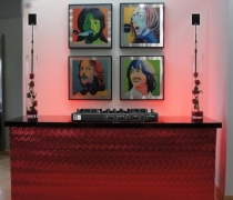 "Contempo Mirrored DJ Booth | 8'W x 30""D x 42""H"