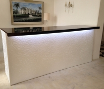 White Damask Bar - Black Top