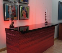 Contempo Red Mirrored Bar
