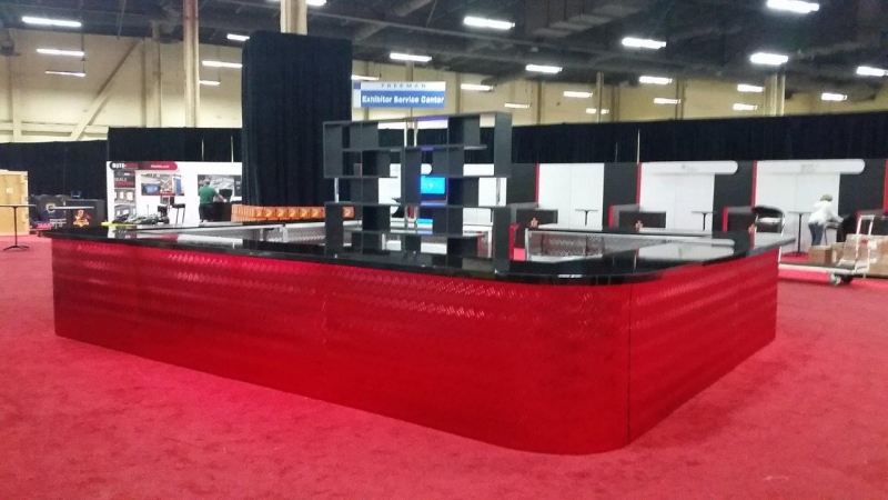 Contempo Red Mirrored Bar With Black Top Center Bar