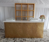 8' Gold Damask Bar with White Top & Gold Back Bar Unit