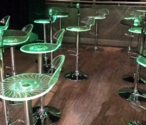 LED Swirl Bar Stools & Glass High Top Tables