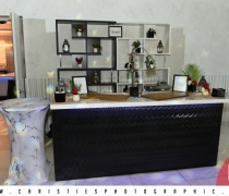 8' SOLO Contempo Black Bar White Top with Black & White Deco Back Bar Units