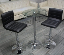 JoJo Bar Stools (Black) with Glass High Top